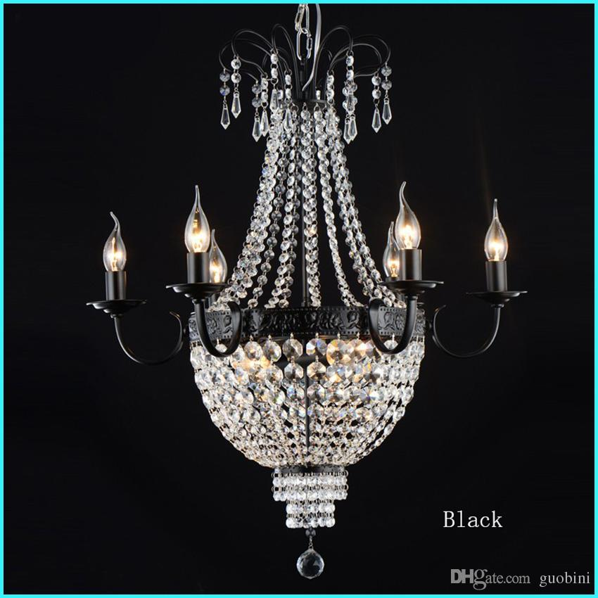 Gorgeous French Empire Crystal Chandelier Light Fixture Vintage Lighting Wrought Iron White Chrome Black Color Drum Bathroom