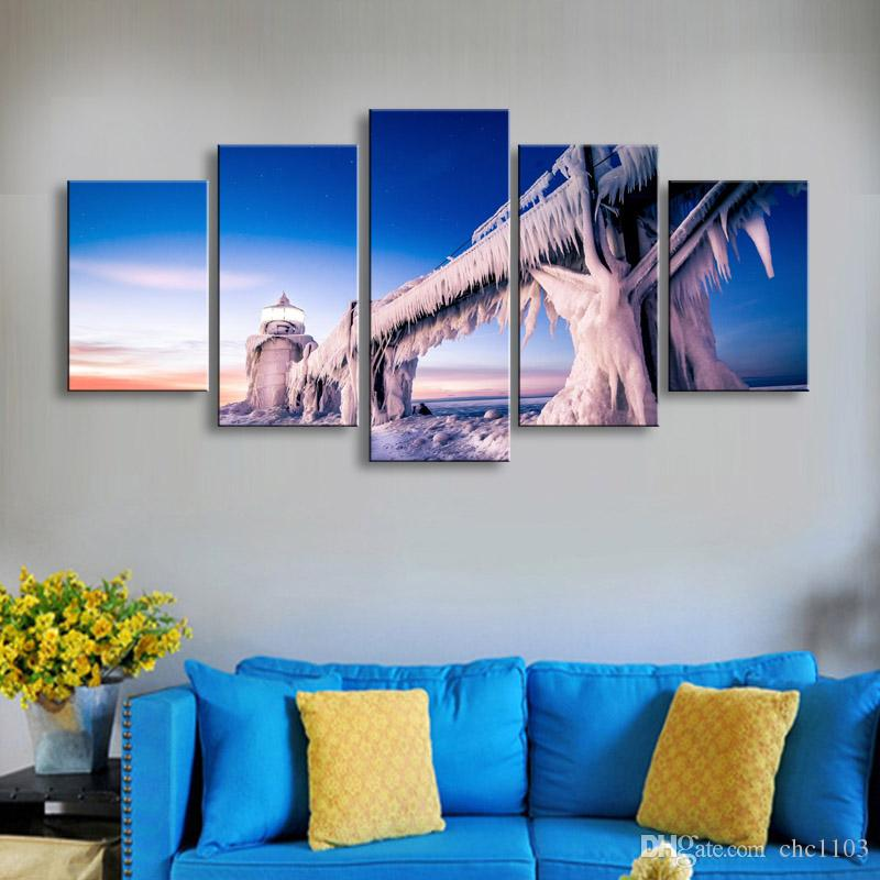 5 pièces haute définition impression nature paysage glace Lighthous toile peinture à l'huile affiche et mur art salon image PL5-176
