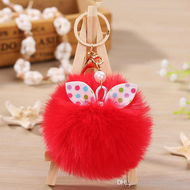 New arrival Bow knot hair ball bag pendant cute plush key chain car keychain KR358 Keychains a
