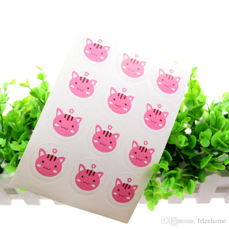 Hand made Cute cat Pink Seals Sticker DIY Scrapbooking Kraft Paper Labels Envelopes packaging Label For Cake Box Wrapping Baking