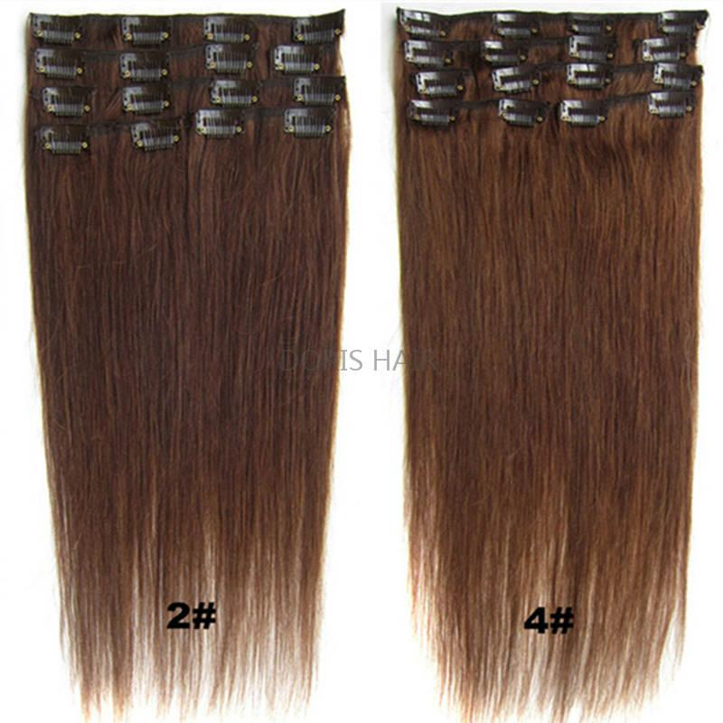Blondes schwarzes braun seidiges gerades echtes menschliches Haar Remy Clip in Erweiterungen 15-24 Zoll 70g 100g 120g brasilianischer Inder für den vollen Kopf doppelter Schuss