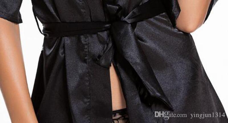Сексуальное Женское Белье Атласные Кружева Черный Кимоно Интимные Пижамы Халат Сексуальное Ночное Платье Женщины Сексуальное Эротическое Белье