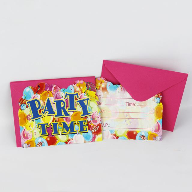 Wholesale 12People Use Party Time Theme Kid Boy Girl Baby Happy Birthday Decoration Kids Supplies Favors Invitation Cards Free Online Christmas