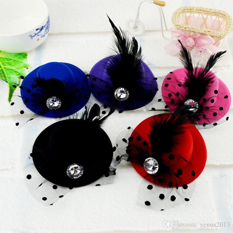 10 cm Mini Enfants Parti Chapeau De Mariée Plume Voile Clip De Cheveux De Mariage D'anniversaire Costume De Fête Déguisement Bateau Libre