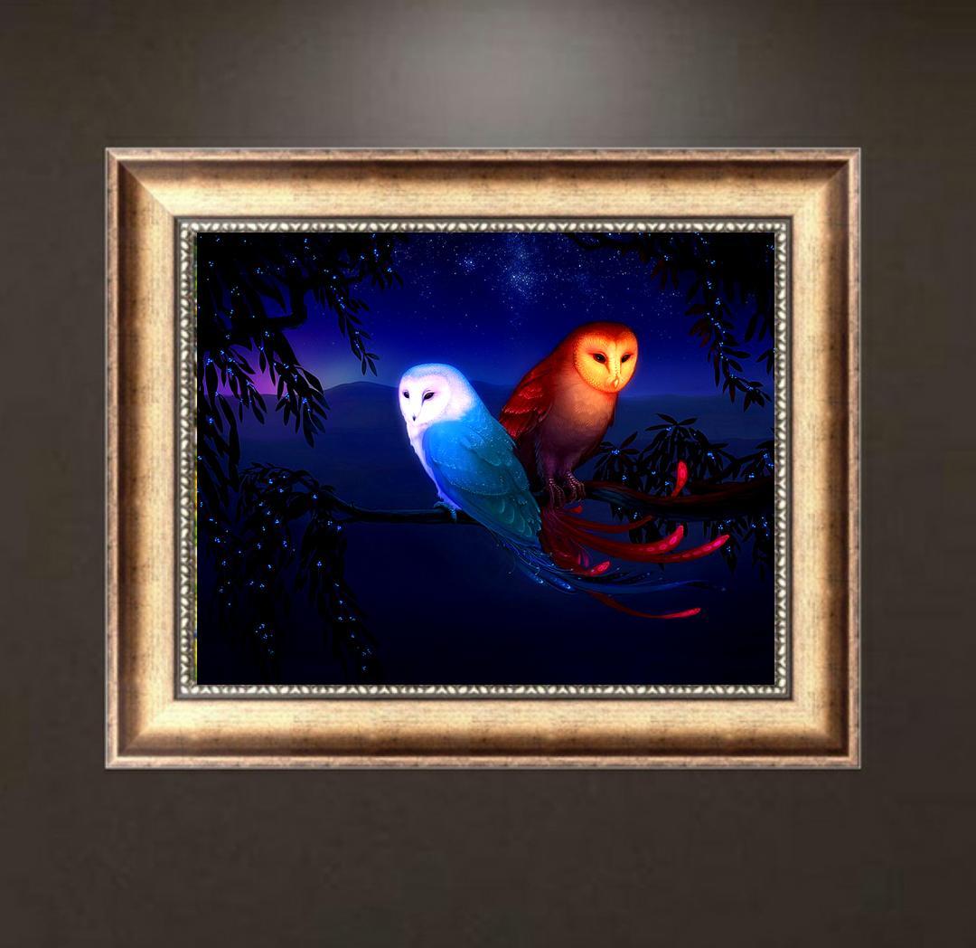 Satın Al Diy Elmas Boyama çapraz Dikiş Mavi Kırmızı Baykuşlar Resim