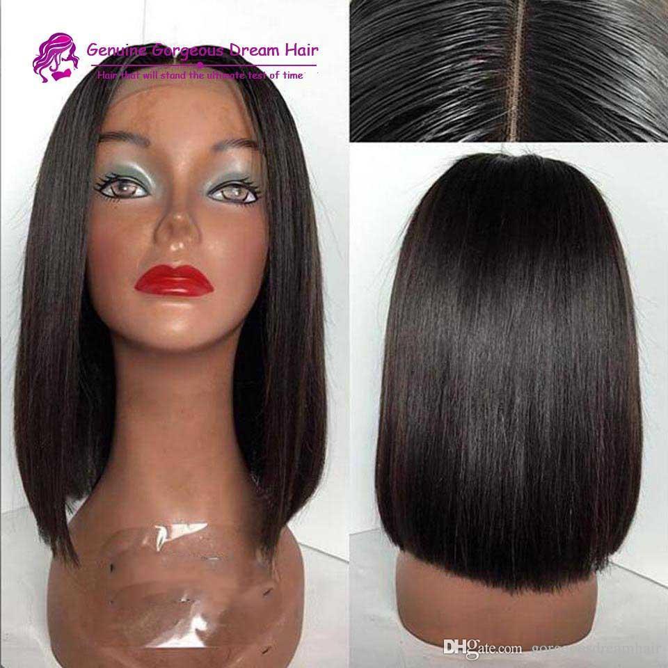 Silk Top Bob Cut Glueless Full Lace Wigs Middle Part Silk