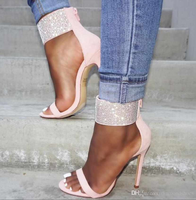 2017 hot sale mulheres strass sandálias stud glitter sapatos de salto alto sapatos de casamento dedo aberto gladiador sandália tornozelo cinta sandálias de diamante