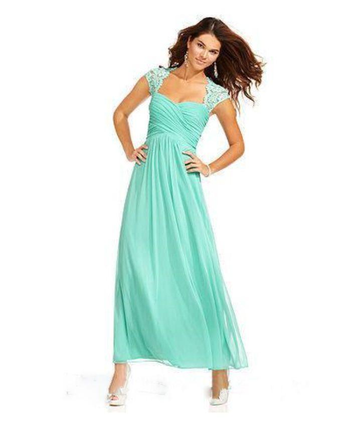 2017 Cheap Long Chiffon Bridesmaid Dresses 'Aqua' Junior