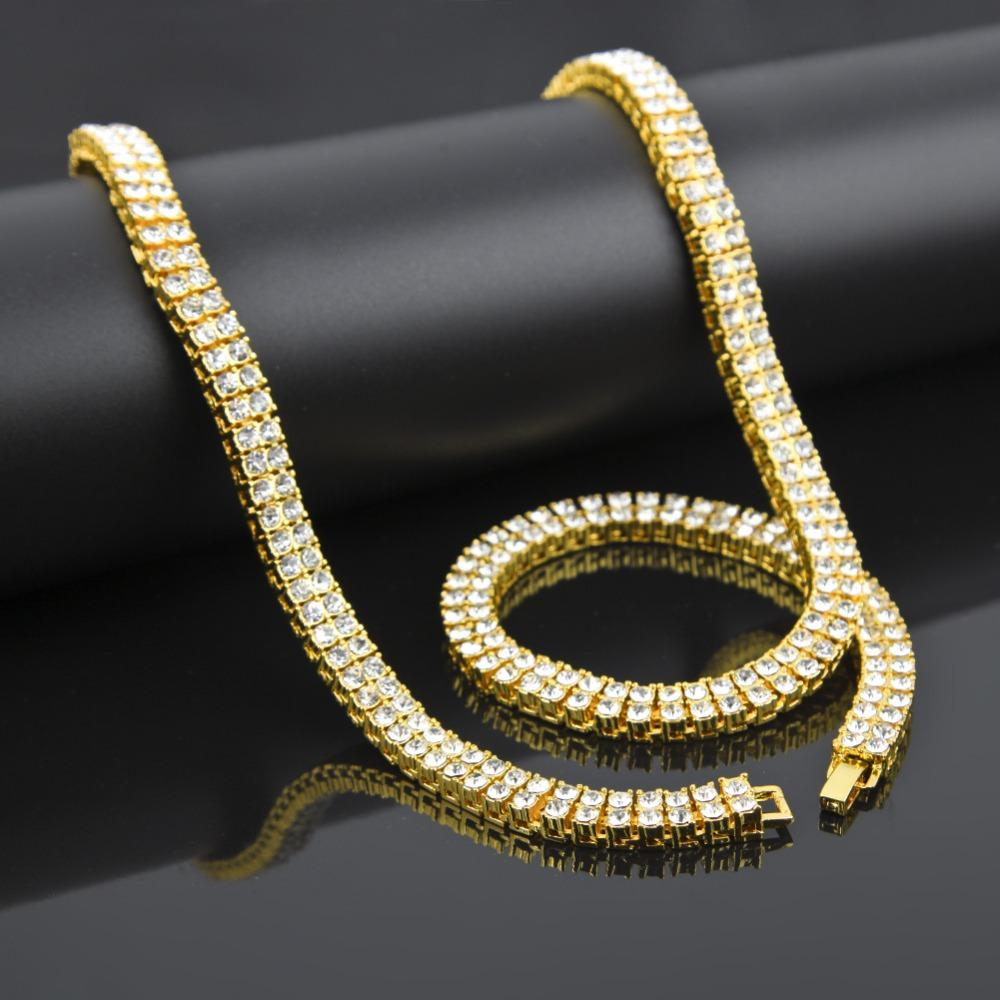 2018 stone necklace hip hop bling iced out 2 row simulated stone 2018 stone necklace hip hop bling iced out 2 row simulated stone necklaces women men golden charm full rhinestone jewelry gifts chains from tendollarstore mozeypictures Image collections
