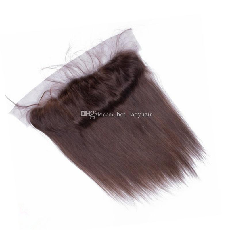 Color #2 Dark Brown Straight Hair Bundles With Lace Frontal Closure Brazilian Medium Brown Virgin Hair Weaves With 13*4 Frontal