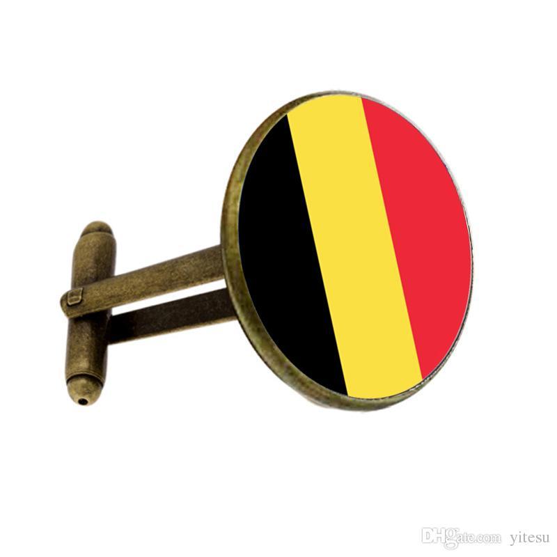 Comercio al por mayor Camisa de Botones de Puño Capitán Bulgaria Bandera Gemelos Llavero Ropa Para Hombres Regalo Caliente Bélgica Bandera Gemelos Llavero Joyería