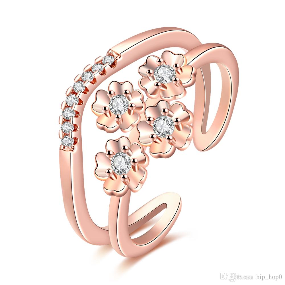 Wholesale Top Quality Women Ring Beautiful Statement Ring Inlaid Stone Zircon Jewelry Fashion 18K Gold Plated Crystal Jewelry Opened Ring