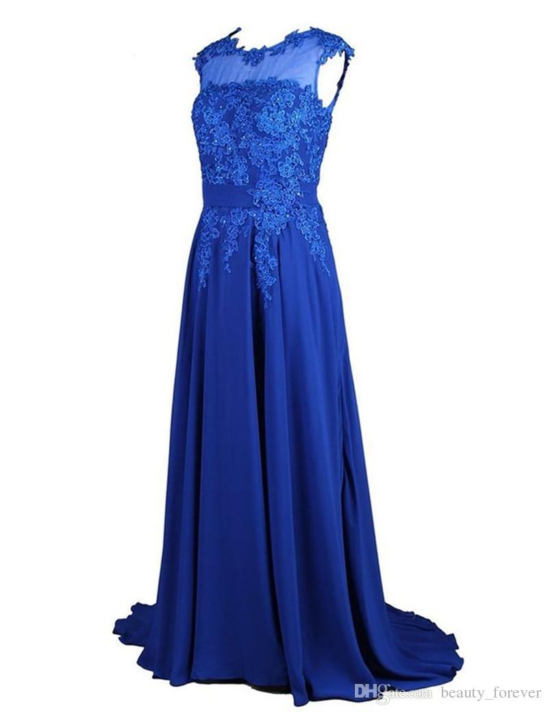 Плюс Размер Вечернее Платье 2019 Vestidos Festa Longo Кружева Аппликации Королевский Синий Шифон Длинные Платья Партии Дешевые