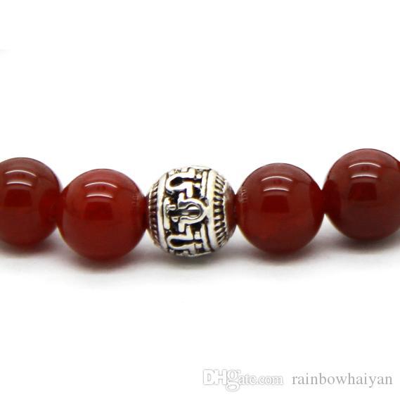 Varm försäljning 10st / mycket utsökta buddha armband med naturlig röd / svart agat, gul tiger öga, vit och turqoise sten