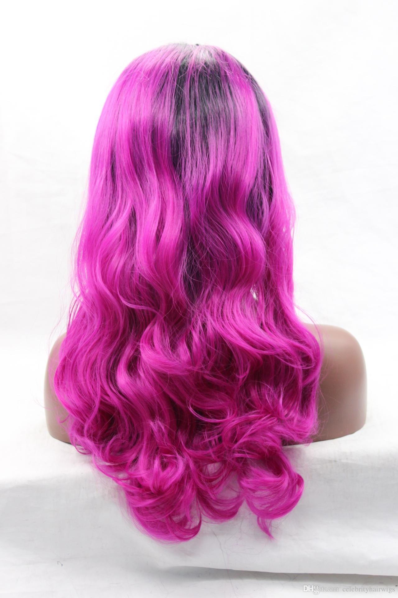 Высокое качество жаропрочных #1B черный Ombre волос естественный тела волна кружева фронт парик дешевые синтетические кружева фронт парик для чернокожих женщин