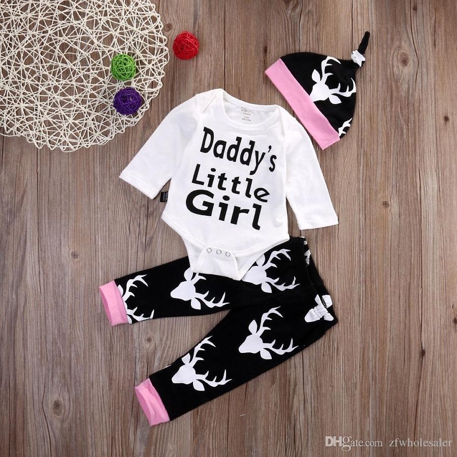 bébé bébé layette enfant en bas âge Vêtements Set Enfants Romper Costume manches longues Pyjama petite fille du papa pantalon imprimé barboteuses Legging