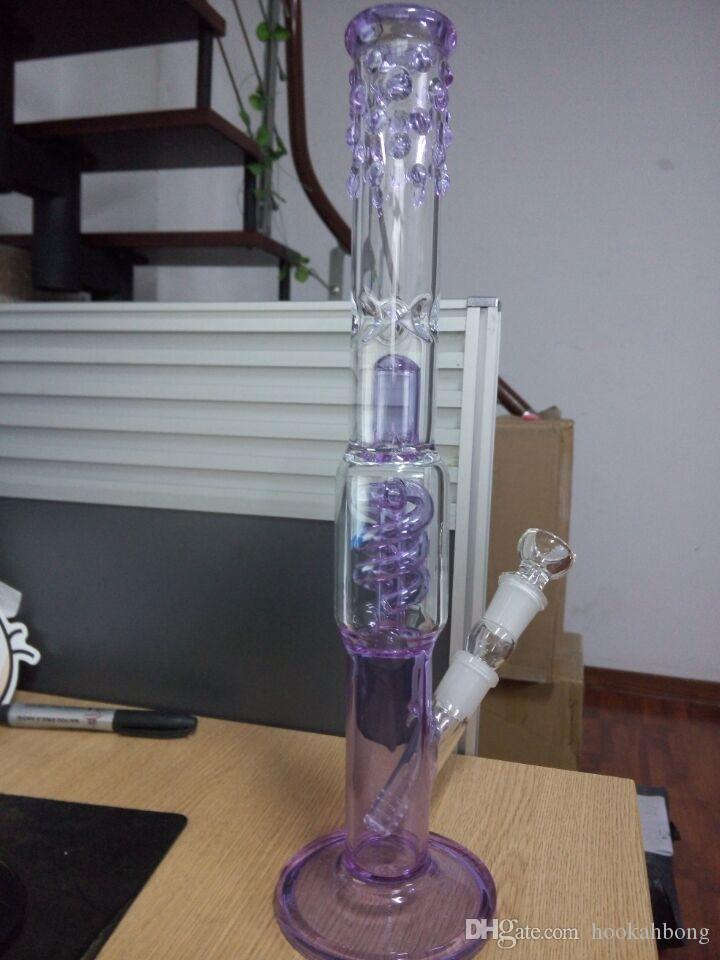 Lavanda Púrpura bongs de vidrio Pata recta Aparejos bobina perc vidrio tubo de agua con tronco y tazón 18 mm conjunta