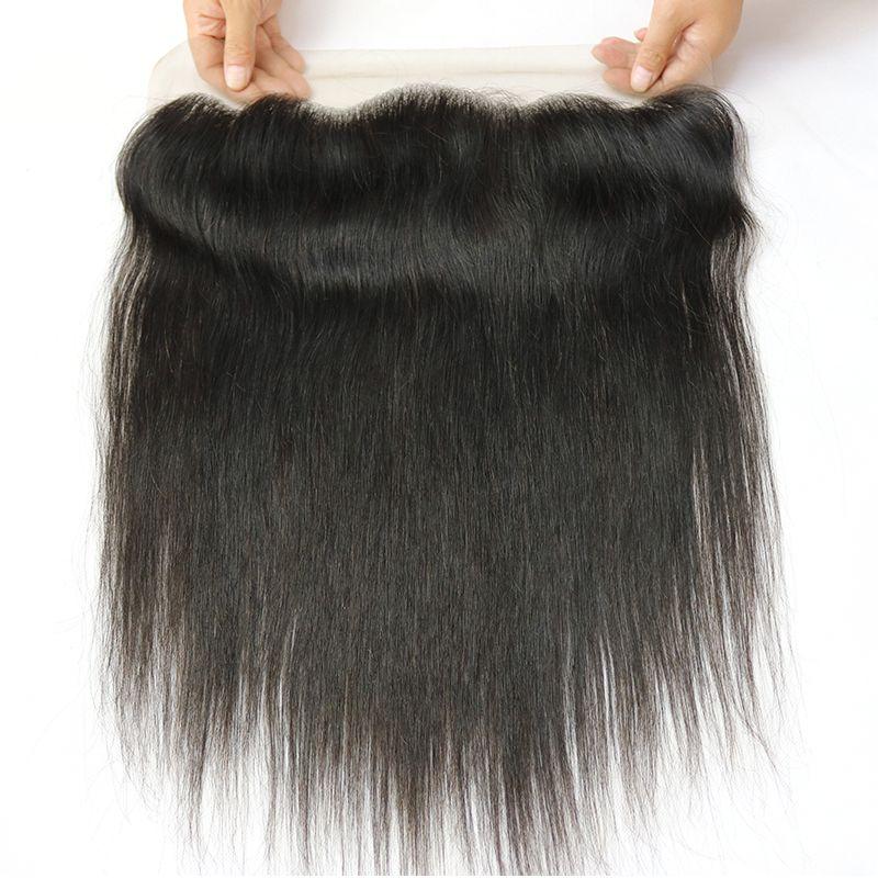 밍크 8a 미 가공 브라질 페루 말레이시아 인디언 스트레이트 버진 인간의 머리카락 직물 마감 처리되지 않은 13x4 레이스 정면 폐쇄