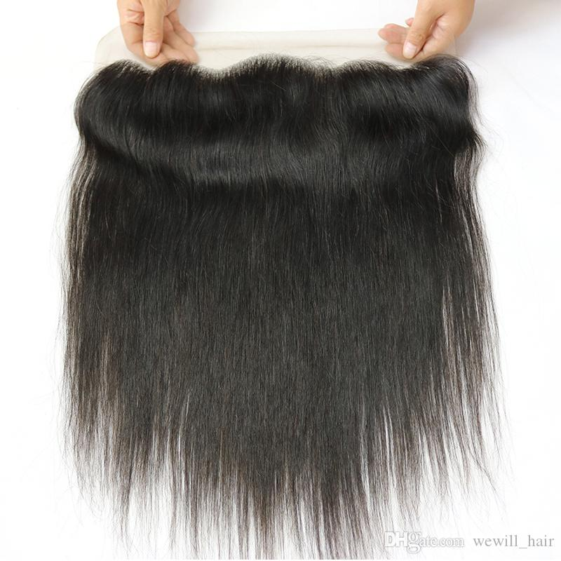 Mink 8a Unprocessed Brazilian Peruvian Malaysian Indian Straight Virgin Human Hair Weaves Closure Unprocessed 13x4 Lace Frontal Closures