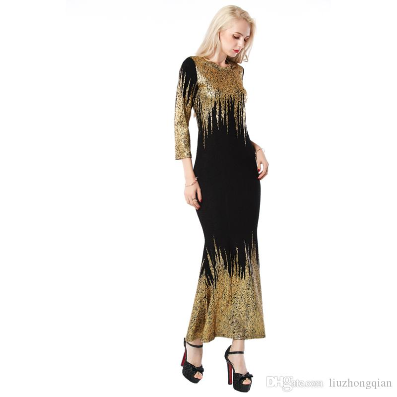 Beauty Garden Women Black Bling-Bling Long Sleeve Kintted Dress Party Club Autumn Sexy Gold Stamping Maxi Dress