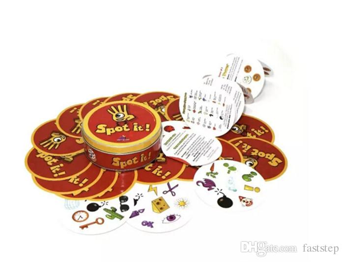 2017 Spot It Card Game Board Game for Children Magic Fun with Family Gathering the Animals Paper Quality Card Metal Box 2507019