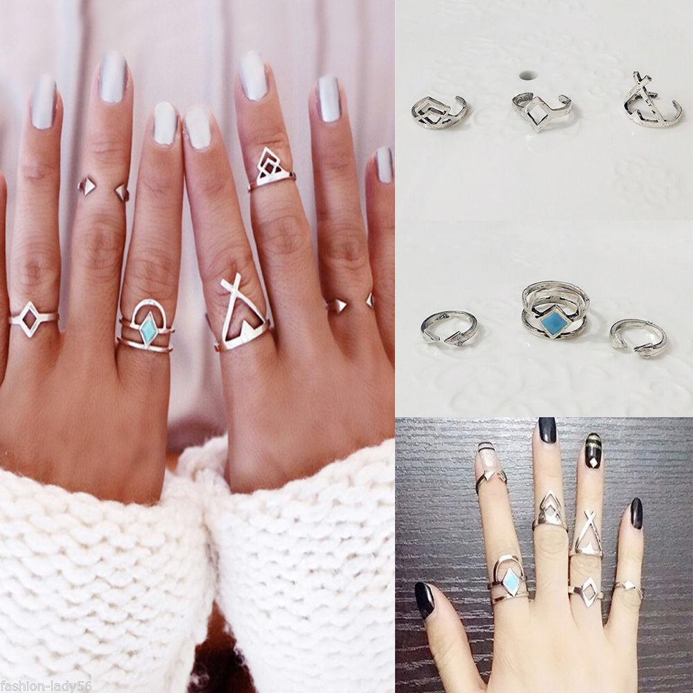 9c6d2cb5a XS Vintage Open Aolly Ring 6picsFemale Creative Rhombus Arrow Suit Joint  For Women Ring Set Wholesale Wedding Bands For Men Oval Engagement Rings  From ...