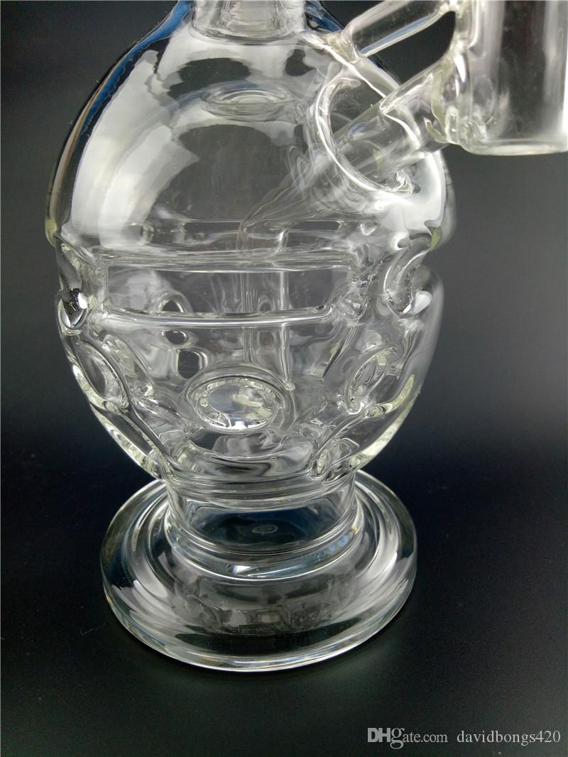 "Classic Round Bong Fab Egg shape with Showerhead Perc 9"" Height Swiss Cheese Percolators Recycler Oil Rigs for Hookashs GB-260-261"