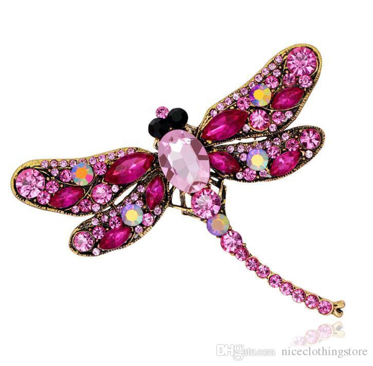 Rhinestone Dragonfly Brooches For Women Antique Gold Color Scarf Lapel Brooch Pins Animals Crystal Jewelry Gifts