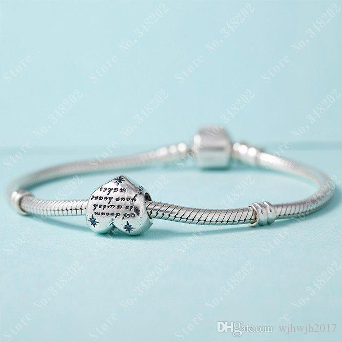 New 925 Sterling Silver Fine Jewelry Cinderella Heart Charm Beads With Fancy Light Blue Cz For Women Fits Pandora Bracelets DIY Making