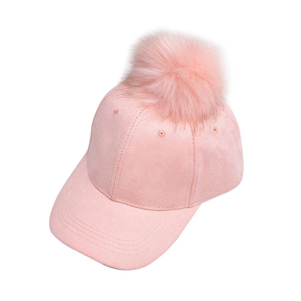 b089b678103 Cap Candy Color Fashion Women Suede Hat With Fur Pom Pom Ball Cap Girl  Famale Autumn Hats Leather Baseball Winter Cap DM 6 Big Hats Hat Stores  From Nonion