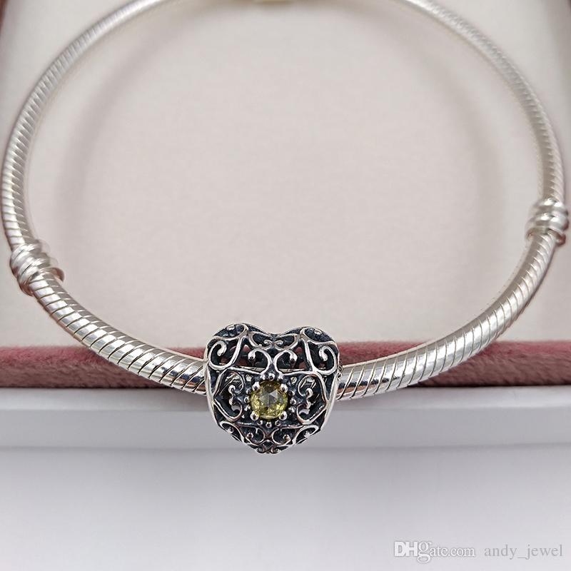 November Signature Heart Birthstone Charm 925 Sterling Silver Beads Fits European Pandora Style Jewelry Bracelets 791784CI Birthday Gift