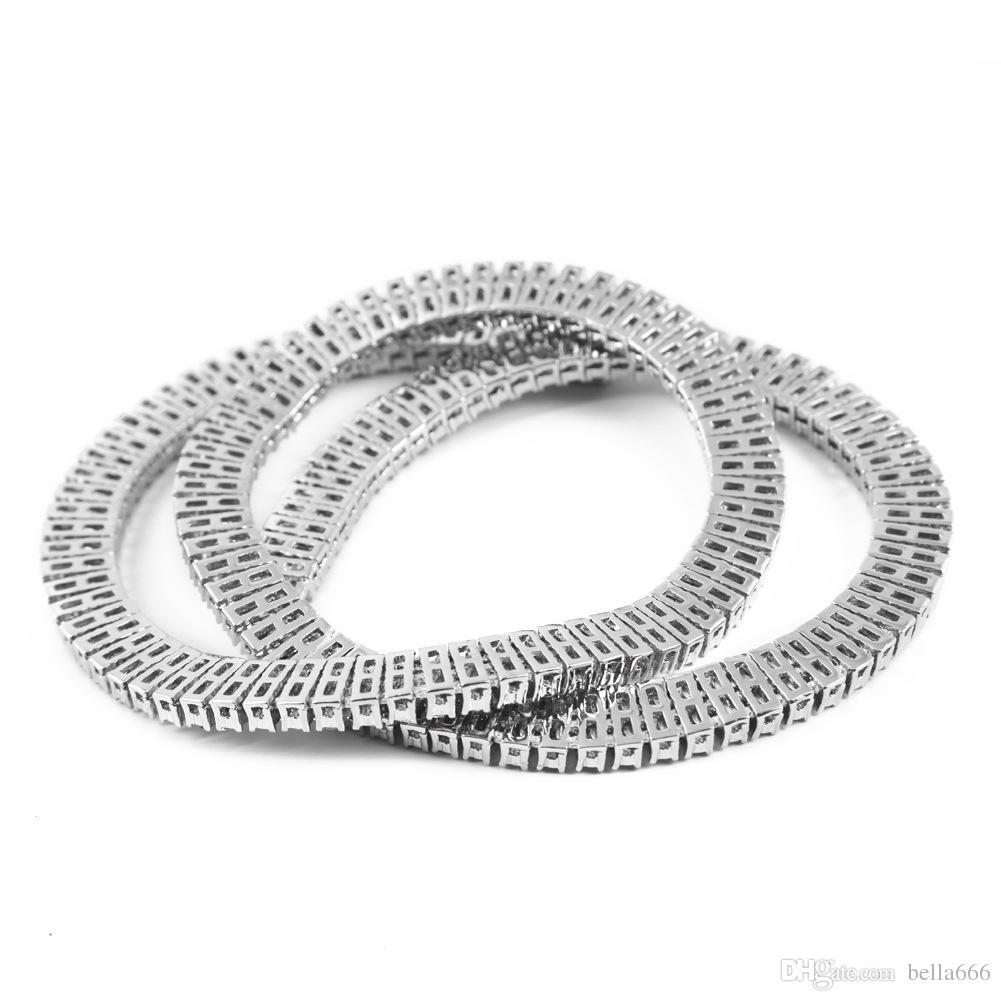 Высокое Качество мужской Цинковый Сплав 3 Ряда RhineStone Ожерелье Позолоченные Blingbling Хип-Хоп Цепи Hot Rock Punk Ювелирные Изделия