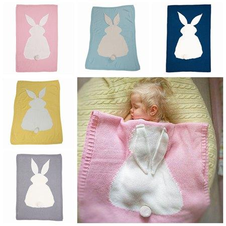 Ins Handmade Crochet Baby Blankets Infant Wool Bunny Blanket Cotton