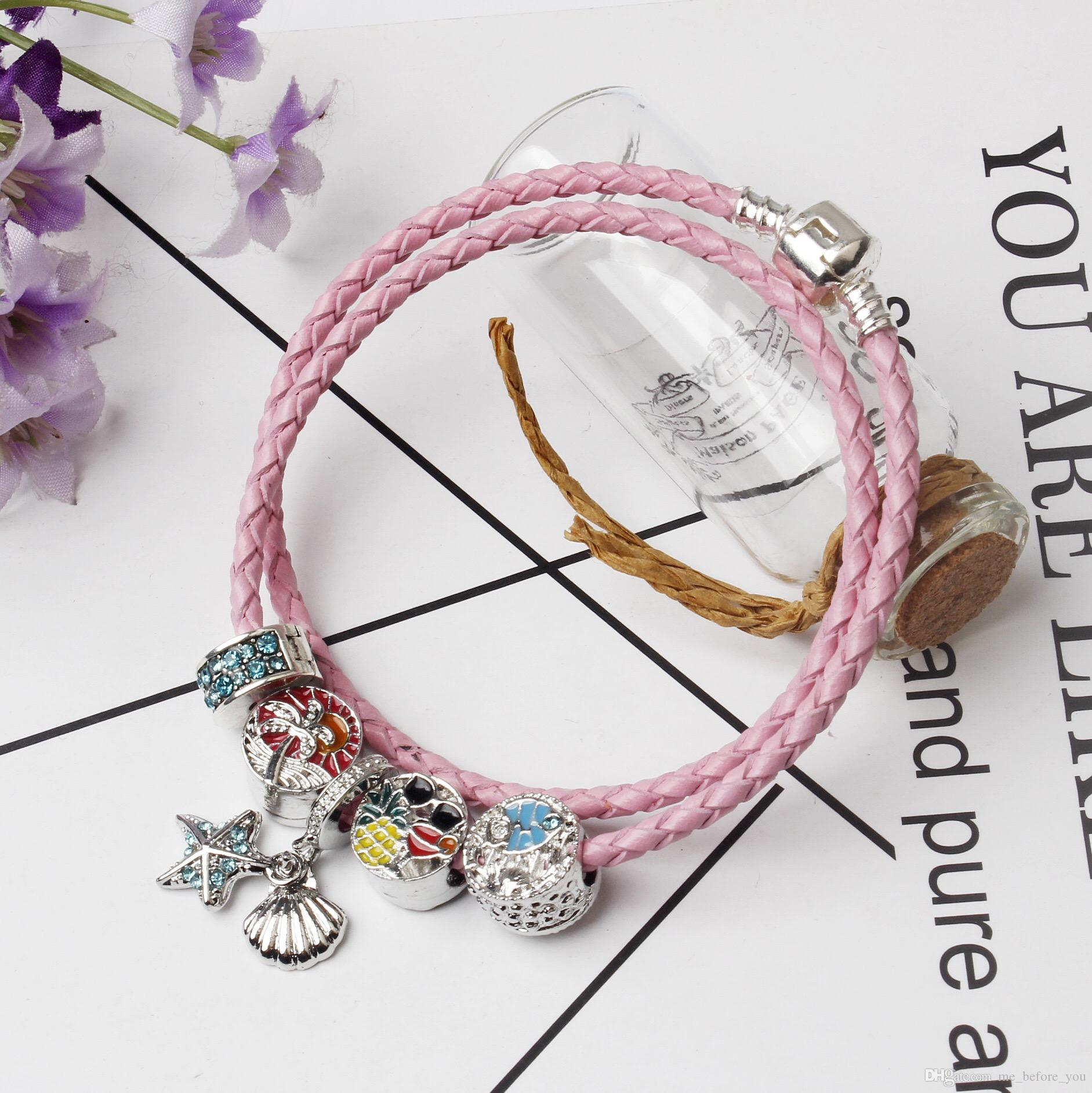 2017 Newest Popular Leather Charm Bracelets Style Pink Summer