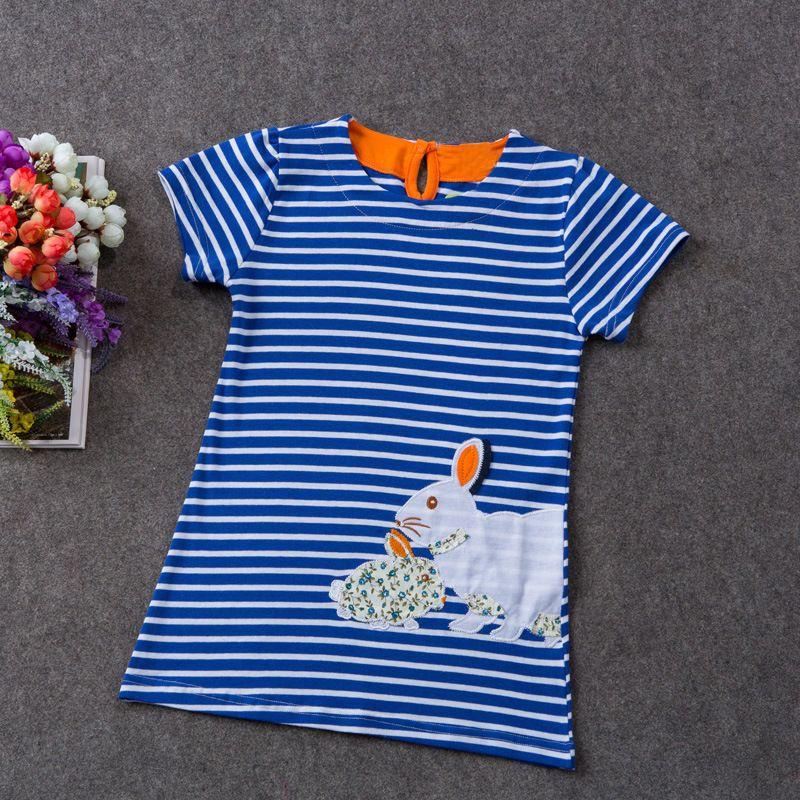 Baby girls cotton dress Rabbit rainbow flower printed girl's striped blouse shirt kids summer clothing children skirts