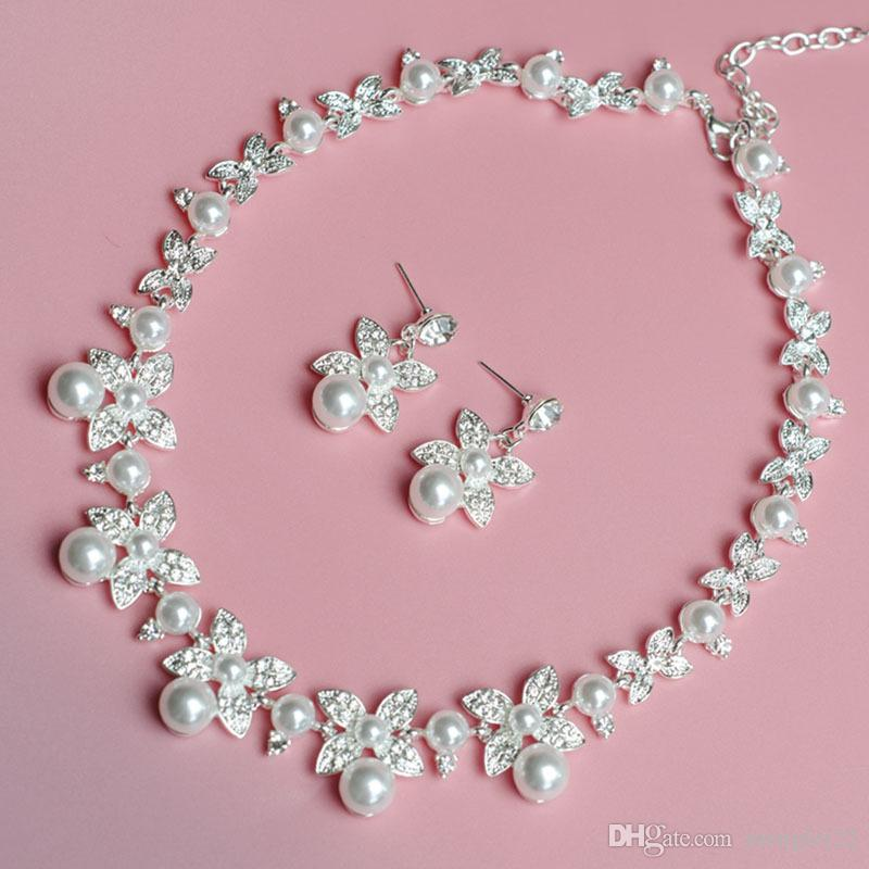 Bridal Jewelry Sets Necklace And Earrings Pearl Diamonds ...