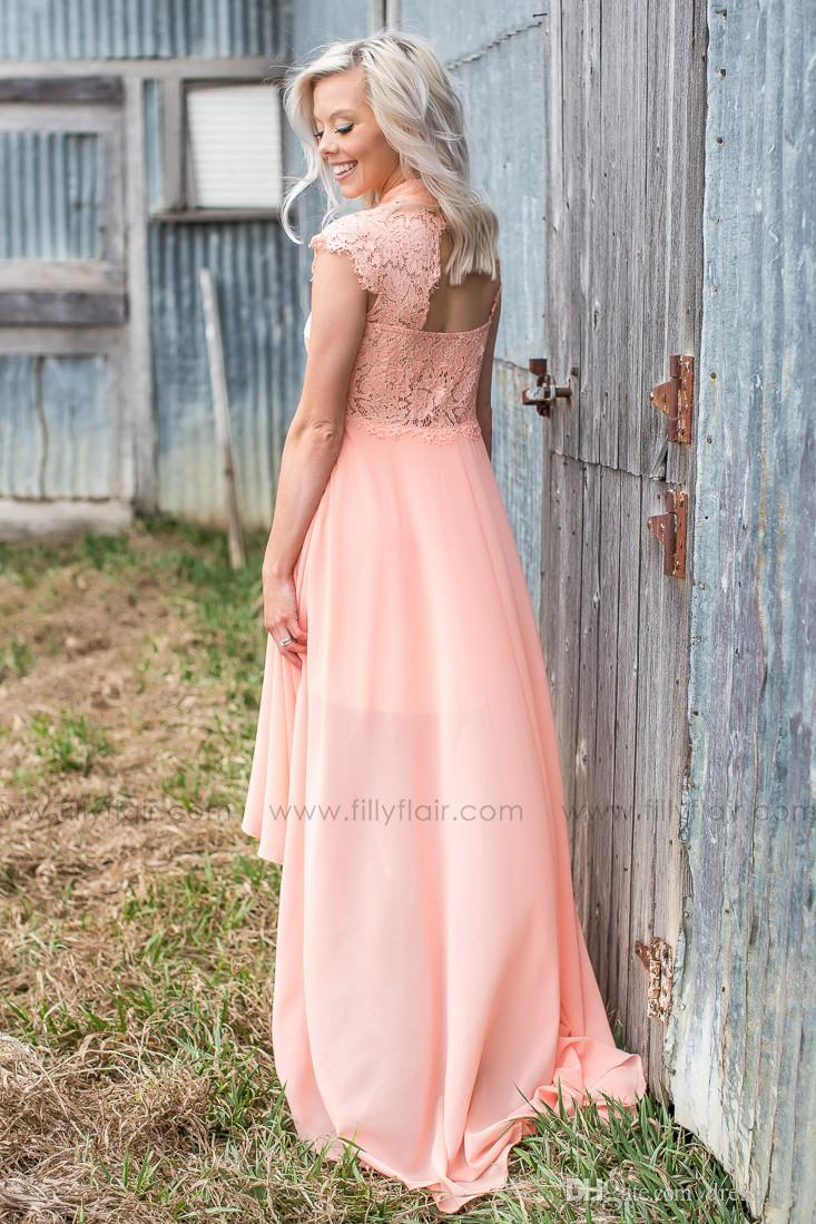 Country Style Bridesmaid Dresses 2017 Hot Sale Peach Lace And Chiffon Cut Out Back High Low Maid Of Honor Gowns Custom Made EN62112