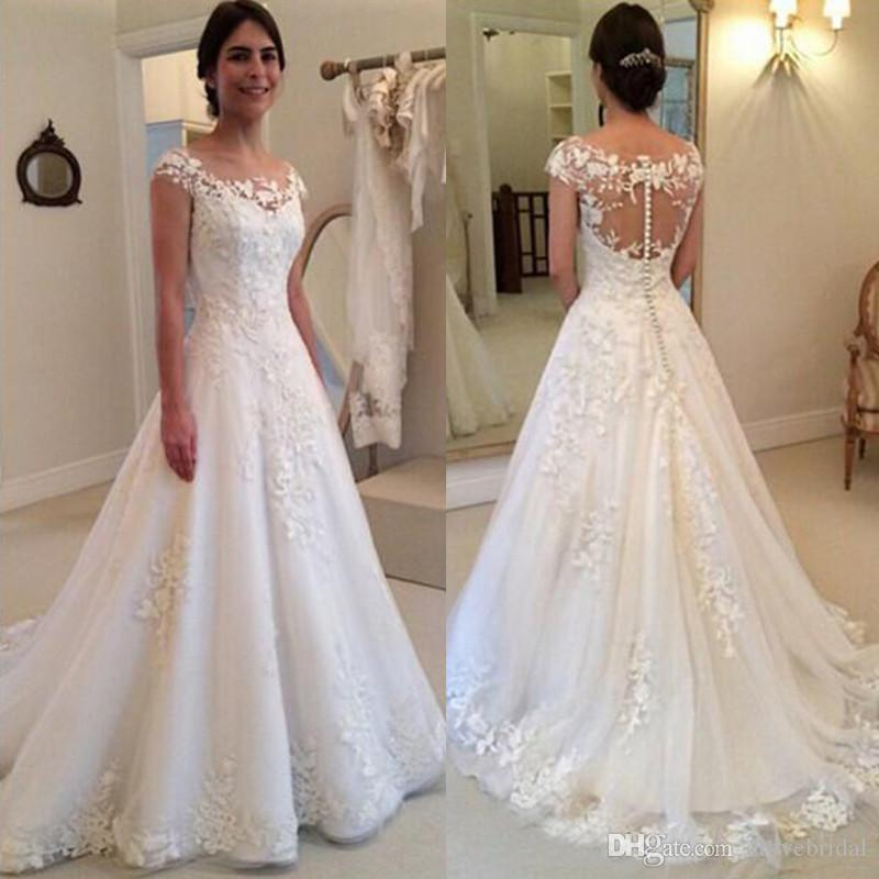 Illusion Back Cap Sleeve Wedding Dress High Quality Sheer See Through Bridal  Dresses With Lace Appliques Covered Buttons Vestido De Novias Lace Wedding  ...
