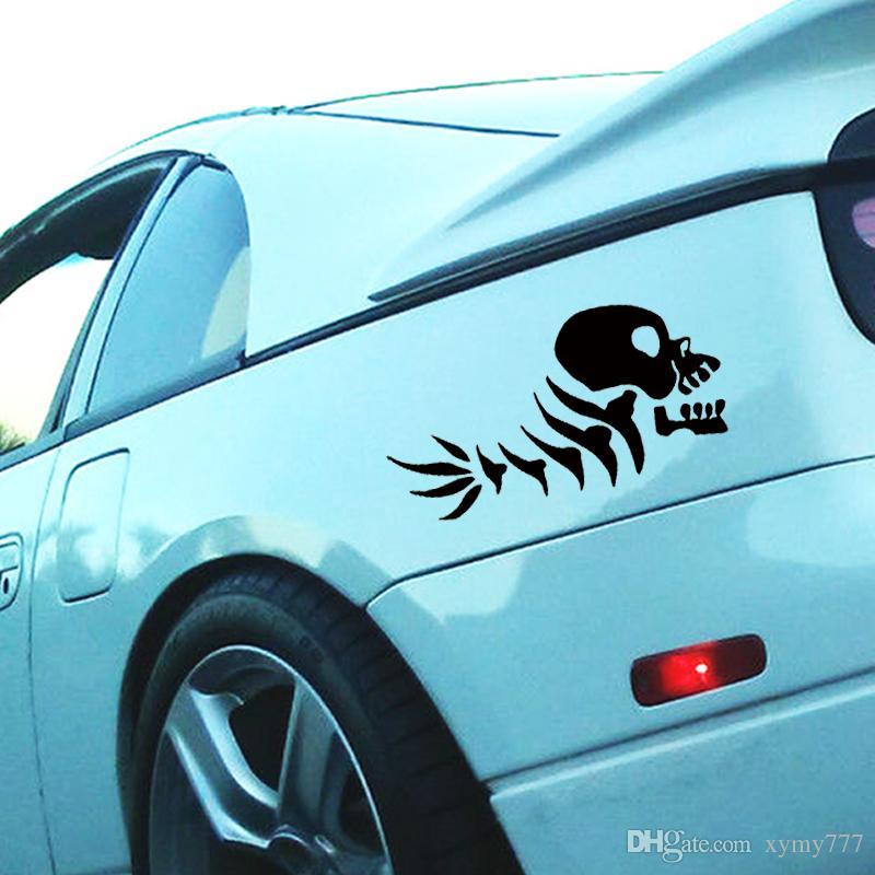 Heiße Verkaufs-Auto-Stying Lustige Fisch-Schädel-Knochen-Auto-Aufkleber für LKW-Fenster Auto Vinyl Aufkleber Jdm