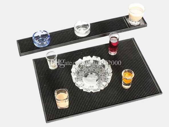 23inch Rectangle Rubber Beer Bar Service Spill Mat for table black waterproof pvc mat kitchen glass coaster placemat