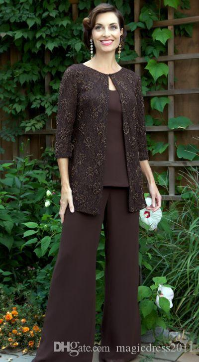 18374cc51d Graceful 2016 Mother Of The Bride Pant Suits Dresses With Long Sleeves Chocolate  Chiffon Lace Cheap Wedding Party Dres Mother Of The Groom Suit Police ...