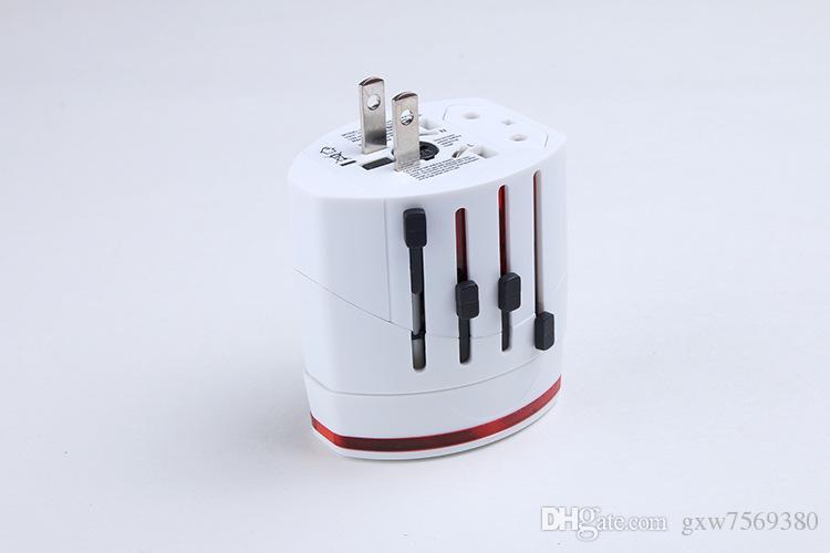 الكل في واحد 1A العالمي قابس محول 2 منفذ USB العالم السفر الجدار شاحن AC محول الطاقة مع الاتحاد الافريقي الولايات المتحدة المملكة المتحدة الاتحاد الأوروبي التوصيل