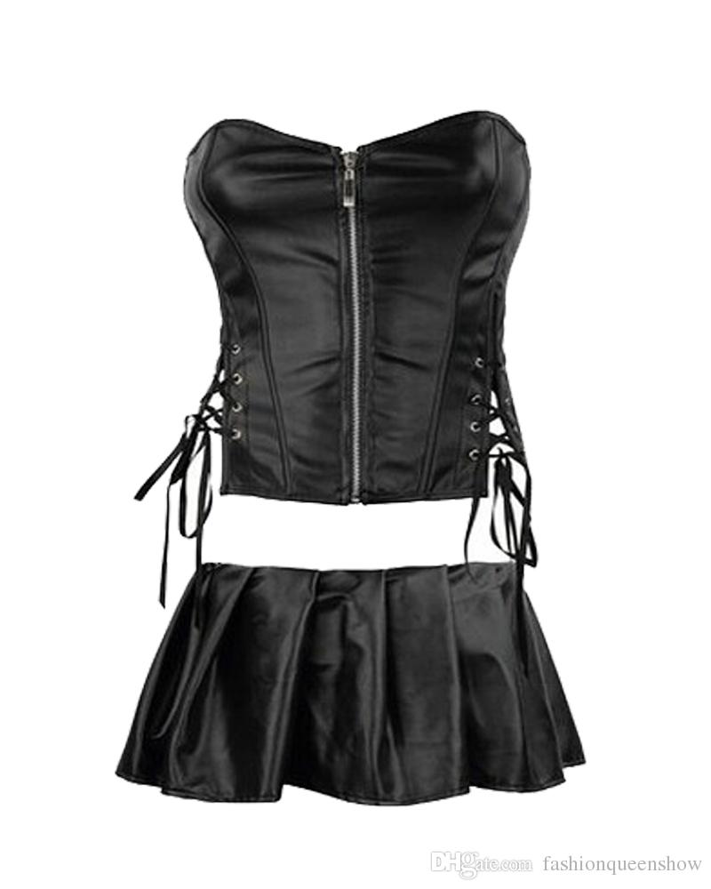 Plus Size S-6XL Front Zipper Corset Sexy Faux Leather Bustier Avvolto petto corsetto Party Dress Fetish Black Lingerie Nightwear