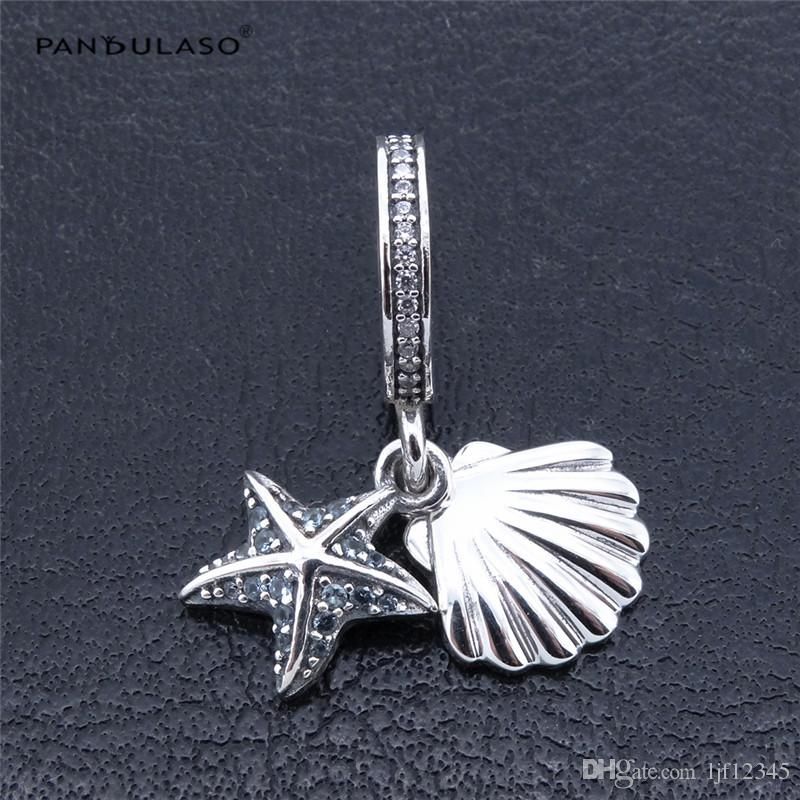 Pandulaso Tropical Starfish & Sea Shell Beads for jewelry making Fits Pandora charms Bracelets Woman DIY Silver 925 Jewelry 2017 Summer