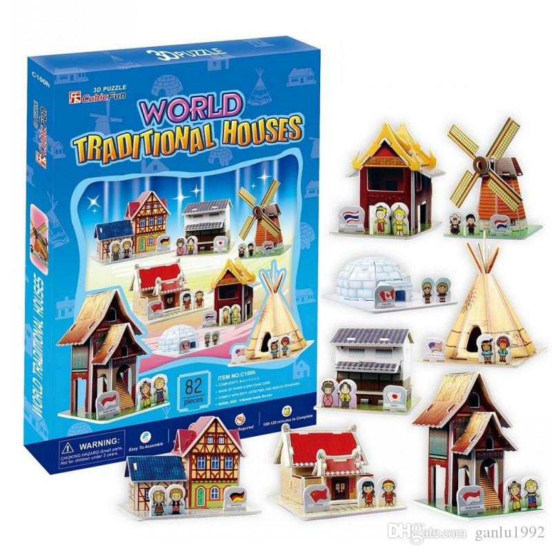 World Residence Eight Buildings 3D Three Dimensional Puzzle Toys Gift Characteristic House Rock Tower Bridge Paper Model New 14hs G1