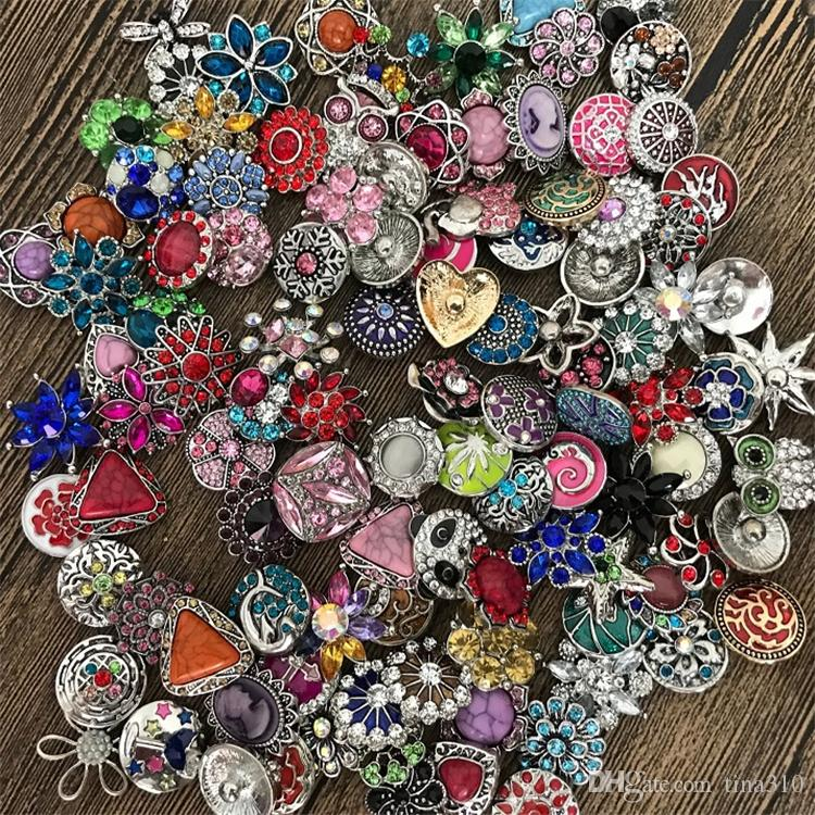 Hot High quality Mix Many styles 18mm Metal Snap Button Charm Rhinestone Styles Button rivca Snaps Jewelry NOOSA button 4647