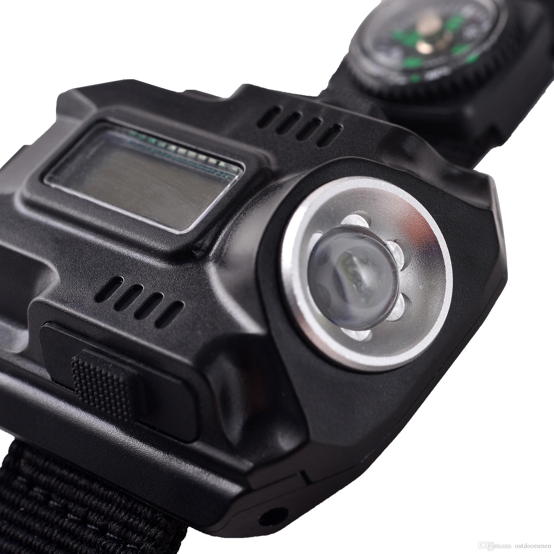 Orologio sportivo multifunzionale con torcia LED Torcia con lampada a LED Laser Orologio da polso hight medio-basso flash sos