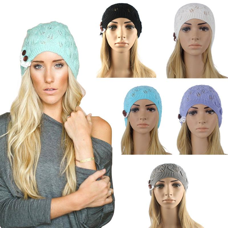 50pcs DHL Women Knitting Hat Winter Hats for Women Genuine Hat Handmade Knitted Warm Hat Female High Elastic Caps Beanies Headgear DDB025