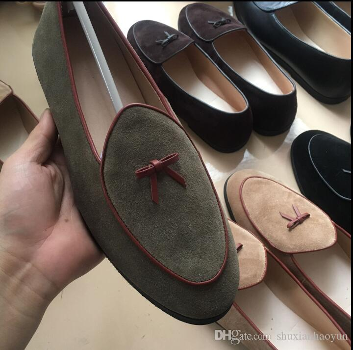 2528bc19d2 Mens Leather Loafers Black Suede Slippers Belgian Dress Shoes Casual Men  Loafers With Bowtie Men s Flats