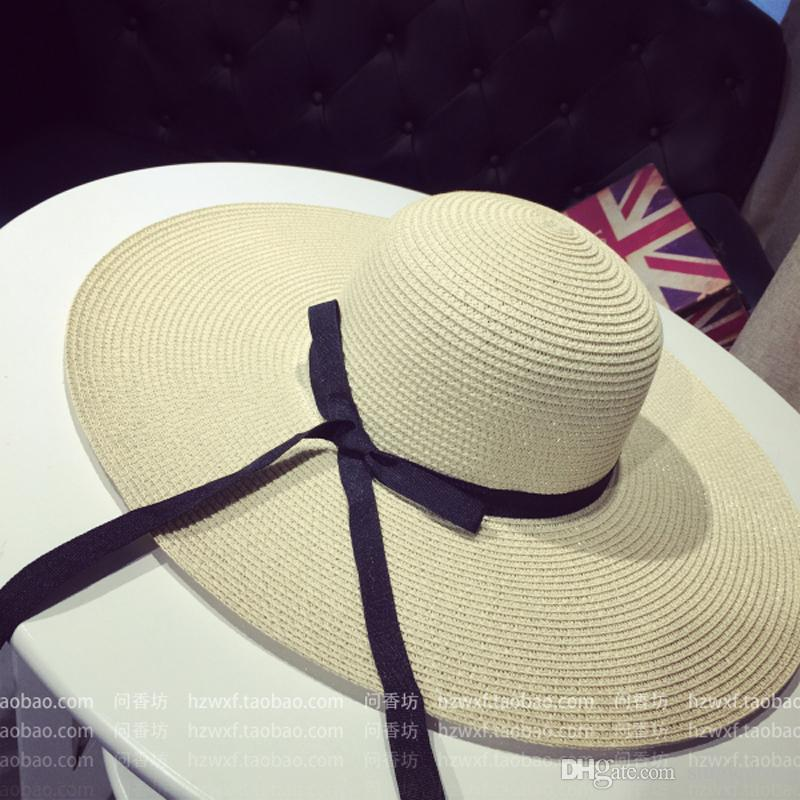 Frauen-große Diskette faltbarer Strohhut Boho Wide Brim Beach Sun-Kappe 3 Farben mit Bogen-Sommerferien-freiem Verschiffen